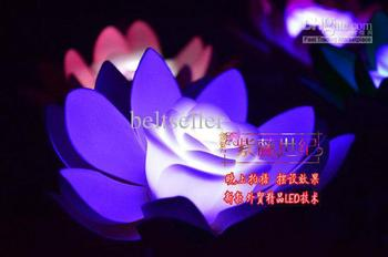 Artificial silk Lotus flower 7 Colors Changing LED Artificial Lotus floating water flower home fish tank Decor