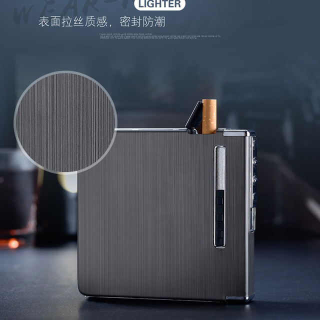 (20 Cigarette ) Metal Electronic USB Cigarette Case Lighters Charging Electric Wire Windproof Lighter Cigarette Box Men Gift