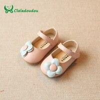 Claladoudou 11.5-15.5 см для маленьких девочек цветок розовый Милая обувь для маленьких девочек черный Мягкая обувь для дошкольников детская обувь