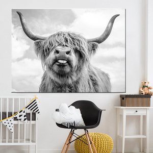 Black and White Highland Cow Cattle Wall Canvas Art Nordic Painting Poster and Print Scandinavian Wall Picture for Living Room(China)