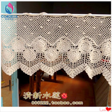 Lace Curtains Window-Cover Crochet-Rod Home-Decor Cutout with Flower for Cotton