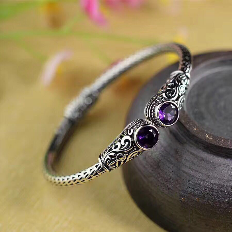 NEW Luxury Indonesia Style Handmade Jewelry Real Silver 925 Sterling Bracelet For Women Natural Topaz Purple Crystal Bangle SB26