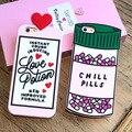 3d bonito ins proibição. fazer amor coração letras poção de amor pílulas frio caso capa de silicone macio para iphone 7/7 plus/6/6 s/6 plus/6 splus