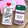Cute 3D ins ban.do love heart letters love potion Chill Pills Case soft silicone Case For iphone 7/7plus/6/6s/6plus/6splus