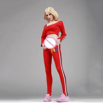 FG036, 1/6, pantalones deportivos rojos para correr para mujer, camiseta con zapatos para figuras de 12 pulgadas, accesorios