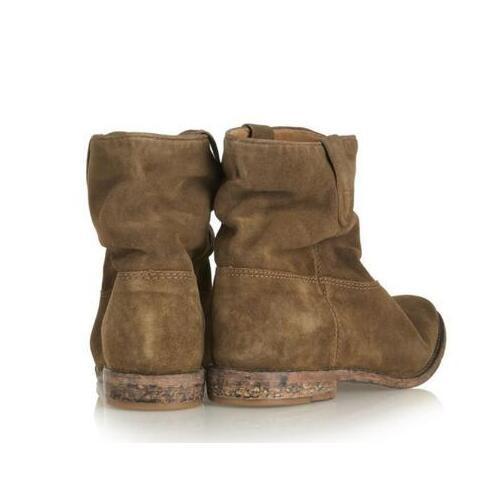 Pisos Sapato Slip Botines Botas Sólido Feminino Pic Plisado Retro 2016 Otoño Caliente Pic Zapatos invierno as Mujer Suede on As Fqg7gw4