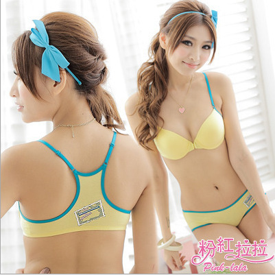 B Hot Sale  Lovely Sexy Girls Nifty Sport Bra Panty Set Holesale Teenage Cotton Bra