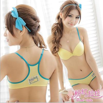 B2013 Hot Sale 2014 Lovely Sexy Girls Nifty Sport Bra Panty Set Holesale Teenage Cotton Bra Set China Factory Directly