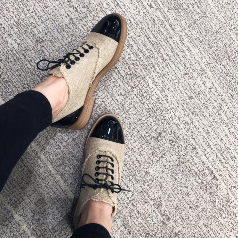 Lace Mujer Zapatillas Mano Retro Mujeres Genuino Cuero Casual Vintage A Las Hecho Oxford Zapatos Loafers Up Planos Para ORqSFwxI