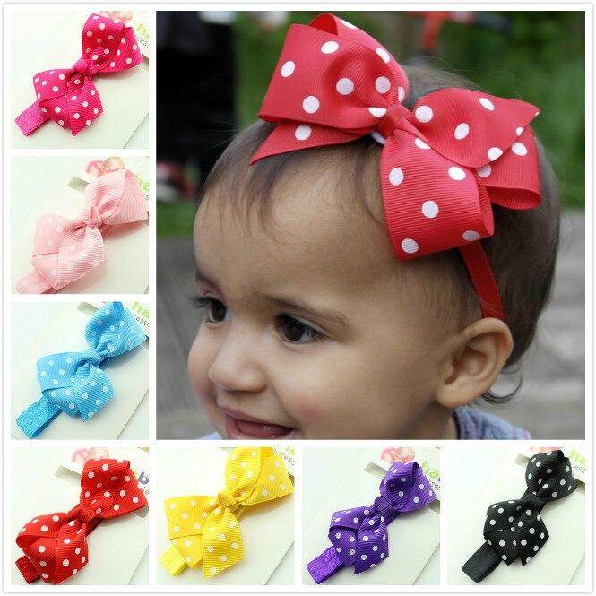 Polka Dot Bow Headband Baby Girl Headbands 12 Colors Children Hair Bow  Elastic Infant Kids Hairband CNHB-15062301 8a941401557