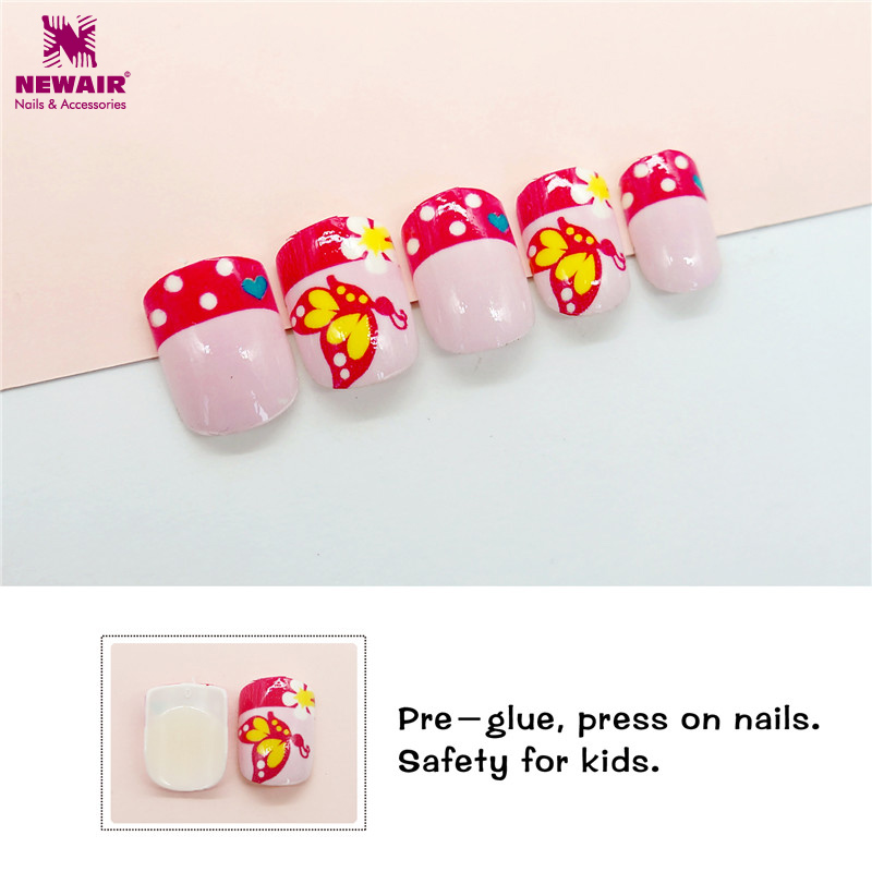 Pre glue Children False Nail Tips Butterfly Cartoon 24pc Full Cover ...