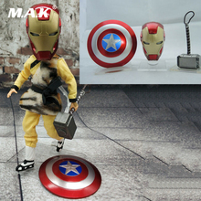 1/12 Scale Figure Scence Accessories Avengers Figure Hammer Iron Man Helmet Shield PVC Models for 6'' Action Figure 1 1 scale iron man arc reactor with led light iron man figure homem de ferro pvc action figure toys