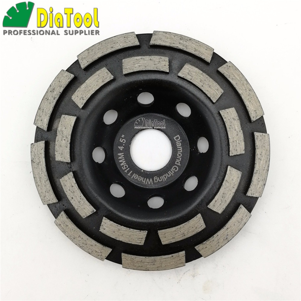 цена на DIATOOL 4.5/115mm Diamond Double Row Grinding Cup Wheel For Concrete Granite And Hard Material Grinding Disc Bore 22.23mm