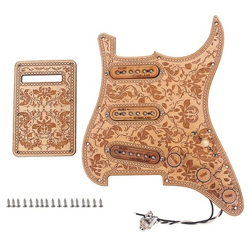 HOT-Prewired Loaded Pickguard Sss Pickups Scratch Plate With Back Cover Maple Wood For Strat St Electric Guitar Accessory