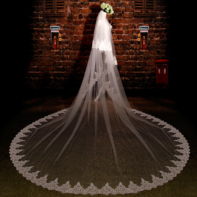 Long Iovry Wedding Dress With Sequin Lace Edge Velo De Novia Wedding Veil Birdcage Voile De Mariee With Comb