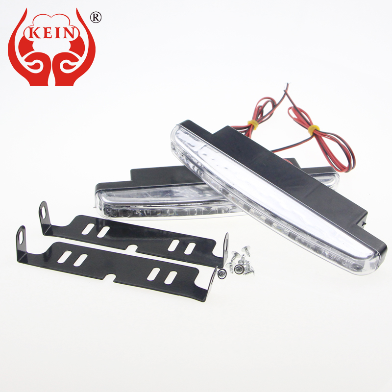 KEIN Auto car 8 LED DRL Daytime Running Light Head Universal Waterproof Day Lights Running Head external Lamp car styling white lyc headlights auto day running light kit truck light parts led lights car 6000k 7 inch led round 1800lm lamp car styling