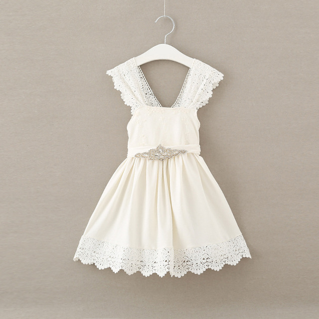 f24391e6c New 2017 Baby Girls Crochet Lace Dresses Kids Girls Princess Party ...