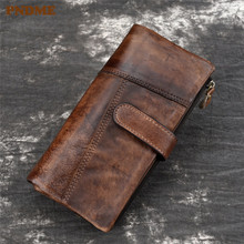 PNDME fashion vintage genuine leather mens wallet casual simple handmade high quality cowhide long hasp credit cards purse