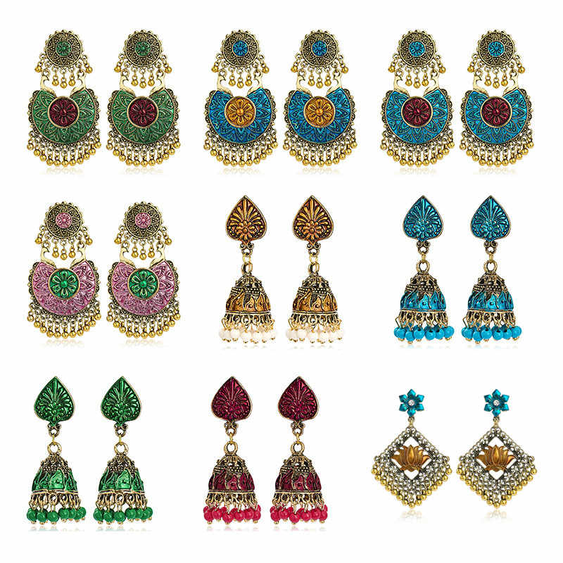Woman Dangle Earrings Colorful Exaggerated Ethic Indian Jhumki Jhumka Tribal Jewelry Women Bird Tassel Bell Pendant Drop Earing