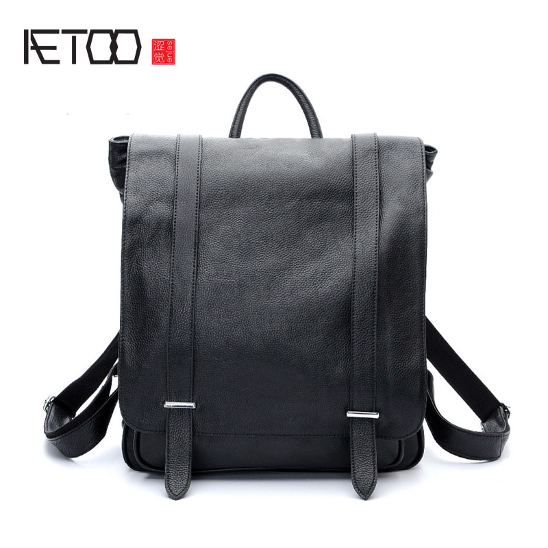 AETOO Explosive fashion Korean version of the multi - purpose men 's shoulder bag head layer of leather backpack bag men s leather oblique cross chest packs of the first layer of leather deer pattern men s shoulder bag korean fashion men s bag