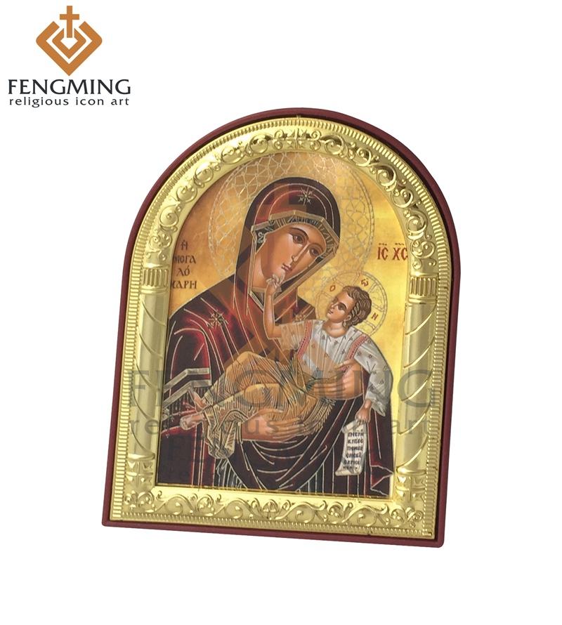 Hot Sale Metal Craft Silver Gold Frame On Plastic De religiøse ikonene Mary Mother of Jesus Russian Orthodox Gift Byzantine Stlye