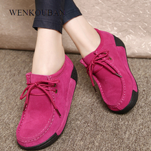 Women Genuine Leather Flats Platform Loafers Woman Creepers Lace Up Driving Moccasins Female Casual Shoes Sapato Feminino 2020