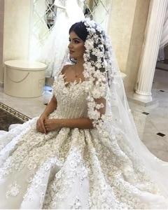 Image 3 - אימפריה מתוקה פלאפי תחרת אפליקציות ואגלי קריסטל יוקרה חתונה מוסלמית שמלות שמלת תפור לפי מידה 2020 חדש SA15