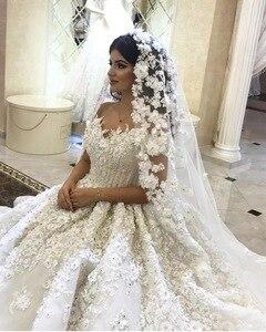 Image 3 - Empire Sweetheart ปุยลูกไม้ Appliques ประดับด้วยลูกปัดคริสตัลแต่งงานชุดมุสลิมชุดเจ้าสาว CUSTOM Made 2020 ใหม่ SA15