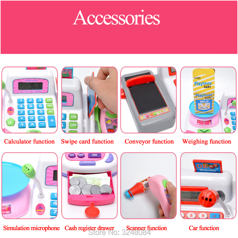 1 Pcs New Pretend Play Cash Register Toy Supermarket Toys With Accessories Basket Money Children Learning Educational Toy Gift