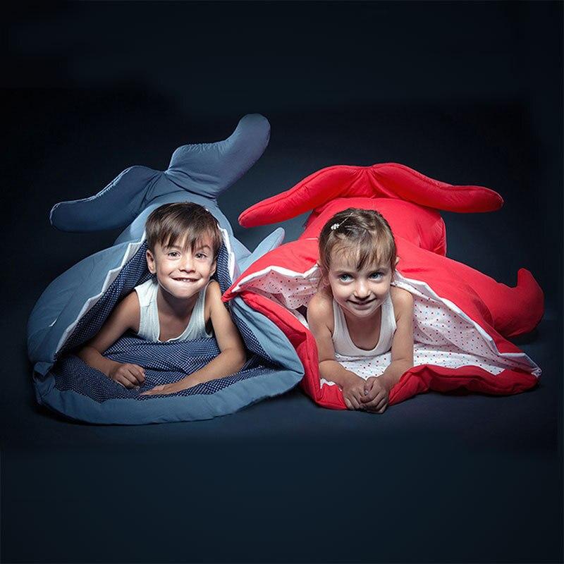 INSULAR 138*85CM Shark Sleeping Bag Anti Kicking Quilt Cotton Swaddling Children's Shark Blanket Bag Baby Cartoon Bag S 0 6 months baby blanket swaddling months baby newborn coral fleece blankets wrapped baby sleeping bag quilt bag split anti kick