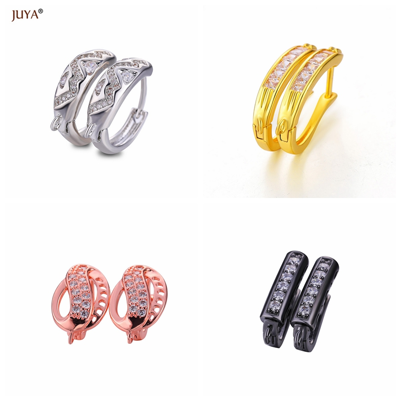 NEW Design 4 Style Gold Silver Black Fashion Copper Zircon Rhinestone Hoop Earrings Accessories DIY Findings For Jewelry Making