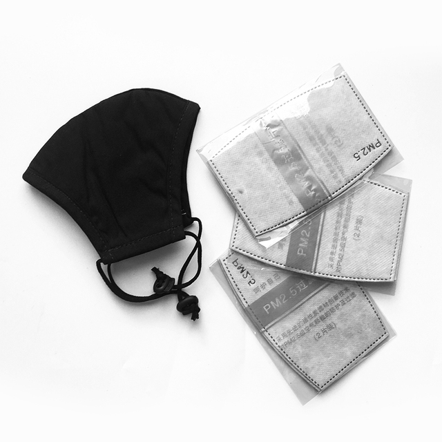Korean Cotton Black Mouth Masks For Man With Filter Pollution Dust Cloth Mask Face Washable Reusable Mouth Cover 2