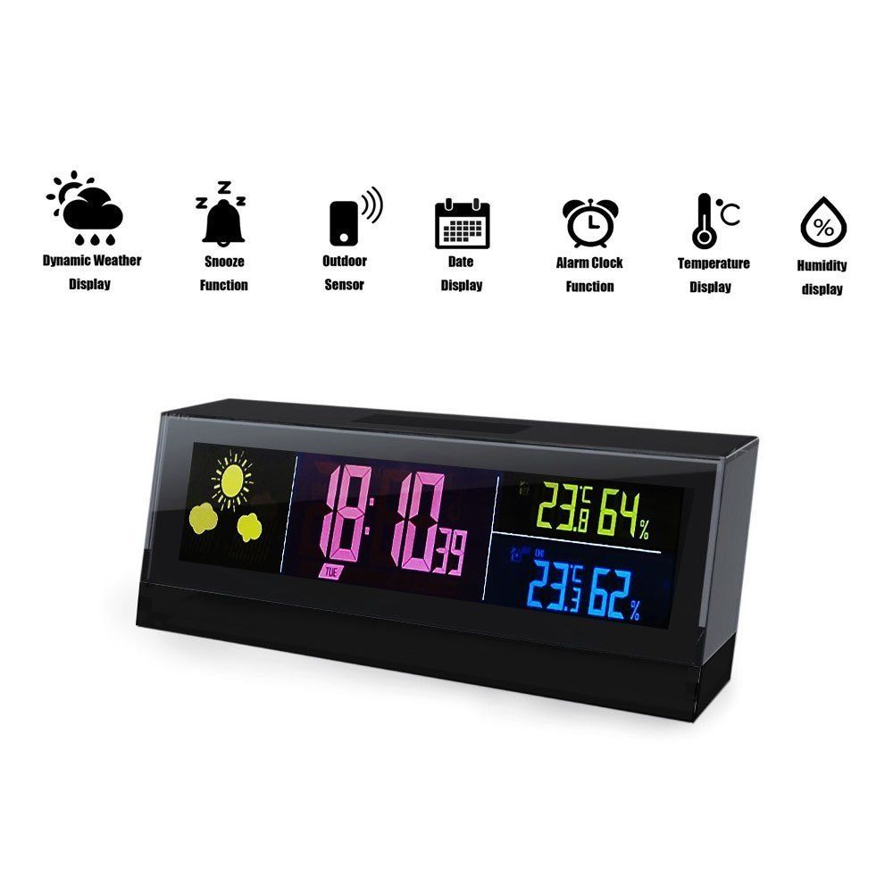 Cube Wireless Weather Station Digital Alarm Clock with Calendar Weather Forecast Thermometer Temperature Humidity blue led backlit digital clock with calendar temperature alarm 4 aa