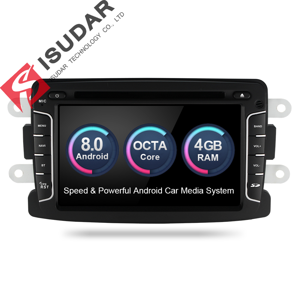 Isudar Car Multimedia Player GPS Android 8.0 For Dacia/Sandero/Duster/Renault/Captur/Lada/Xray 2/Logan 2 Car Radio 1 Din DSP FM android 7 1 1 car dvd player gps glonass navigation for renault dacia duster sandero lodgy dokker multimedia video radio stereo