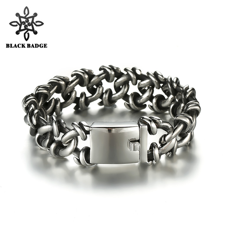 Men Curb Cuban Link Silver Black Bracelet 316L Stainless Steel Bracelet Fashion Hip Hop Ice Out Bling Pendant Necklace trendsmax bracelet for men 316l stainless steel curb cuban link chain bracelet totem knot charm wristband men fashion gift hb10