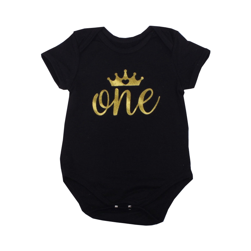 1st Birthday Baby Bodysuits Unisex Boys Girls Cotton Short Sleeve Jumpsuits O-neck Golden Letter Crown Toddler Babies Clothing
