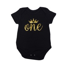 1st Birthday Baby Bodysuits Unisex Boys Girls Cotton Short Sleeve Jumpsuits O-neck Golden Letter Crown Toddler Babies Clothing(China)