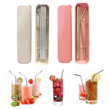 49Pcs Set Box Reusable Drinking Straw Stainless Steel Metal Straw with Cleaner Brush kit For 2030OZ Mugs Kitchen bar tableware