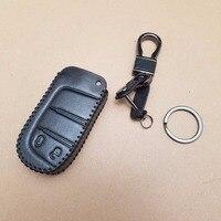 Vera Pelle NERA Key Holder Fob Case & Catena di Metallo Per Dodge Journey 2013 2014 2015 2016