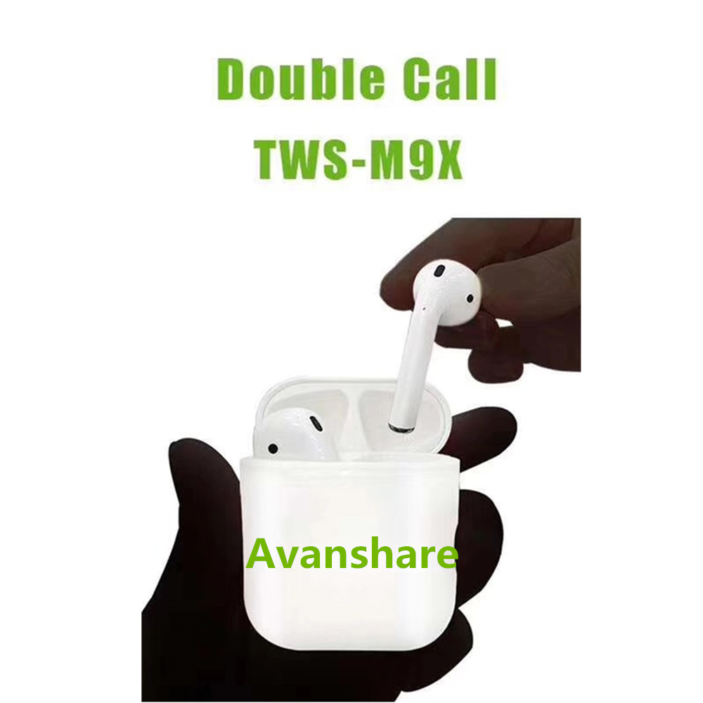 Avanshare M9X earphone Twins Wireless Stereo Earphone Touch Key Bluetooth Earbuds Headphones With Charging Box For Iphone X