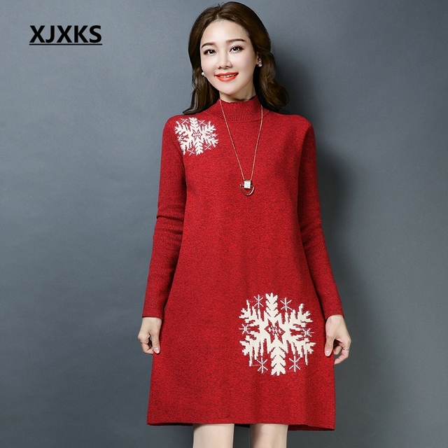XJXKS Korean Style Young Ladies Pullover Long Sweater Snowflake Pattern  Good Quality Ulzzang Women Christmas Sweater Dress b89050fae