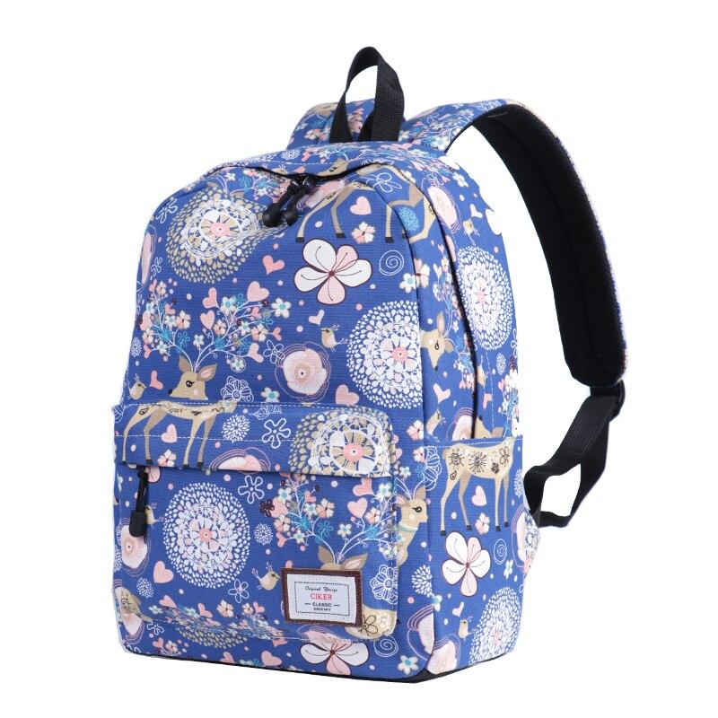 CIKER mignon femmes école sac à dos cerf Animal motif impression grande capacité sac de voyage filles collège Bookbag Mochilas sacs à dos - 2