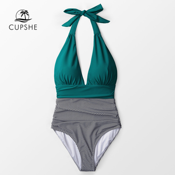 CUPSHE Keeping You Accompained Stripe One-piece Swimsuit V neck Backless Halter Sexy Bikini 2020 Ladies Beach Bathing Swimwear 5