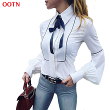 OOTN Office Bow Tie Blouses Women Lantern Sleeve White Tunic Button Down Shirts Female Elegant Top 2017 Winter Autumn Necktie