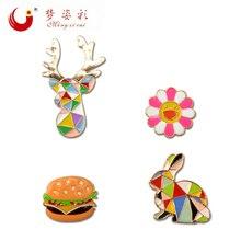 MZC Novelty Colorful Hamburgers Deer Head Sun Flower Brooches Pins Acrylic Brosh Harajuku Brosches Collar Badge Lapel Pin Mujer