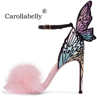 2018 Thin High Heels Genuine Leather Shoes Women 10cm Butterfly Heels Sandals With Pink Fur Sexy Wedding Party Shoes Big Size 42
