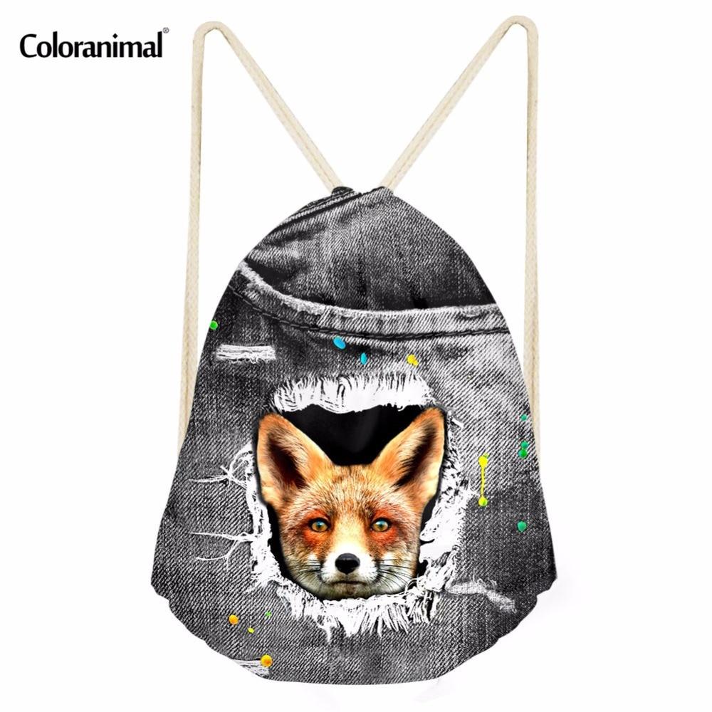 Coloranimal Fashion Women Men's Drawstring Bag Cute Puppy Fox School Bags 3D Denim Animal Print Kids String Drawstring Backpack