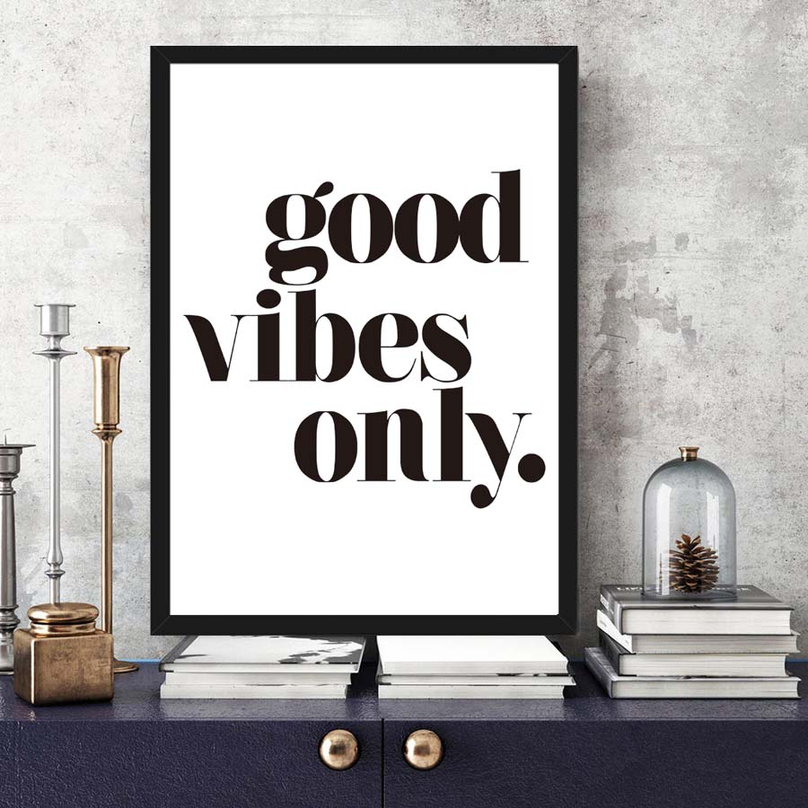 Vibes Only Quotes Canvas Painting Black White Art Wall
