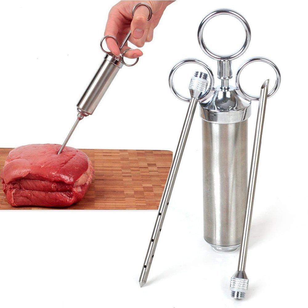 Mat Smak Krydda BBQ Meat Spray Marinade Injector Kit Durable Sharp Injektionspistol med 2 Nålar för Fläskkylling Turkiet