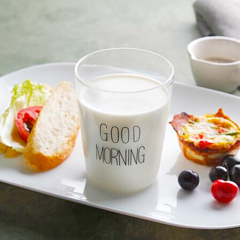 Доброе утро Стиль ручной работы Стекло Чашки простой утро Кружки SH114 ...